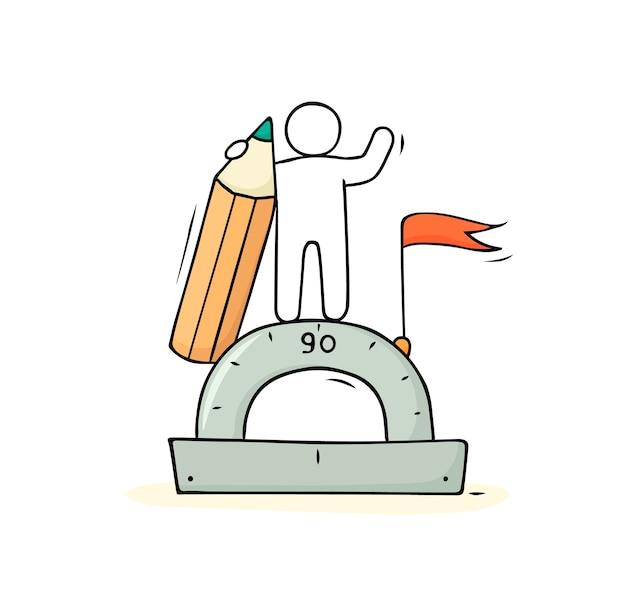 Uomo del fumetto con matita e righello. icona carina di doodle per la matematica. illustrazione del fumetto disegnato a mano.