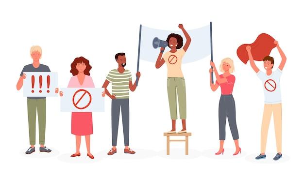I personaggi attivisti della donna dell'uomo dei cartoni animati dimostrano, prendono parte alla dimostrazione di protesta, stanno insieme e tengono bandiera e manifesti, isolati su bianco. la gente protesta, attivismo.