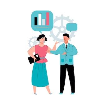 Uomo e donna del fumetto che parlano del diagramma grafico delle statistiche dei dati