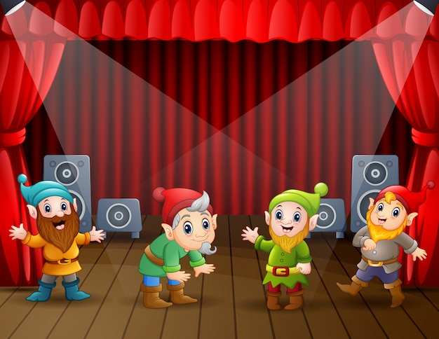 Cartoon molti nani esibirsi sul palco