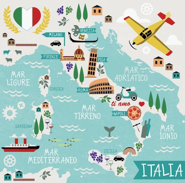 Mappa del fumetto dell'italia con punti di riferimento