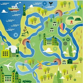 Mappa del fumetto con fiume, montagna e case