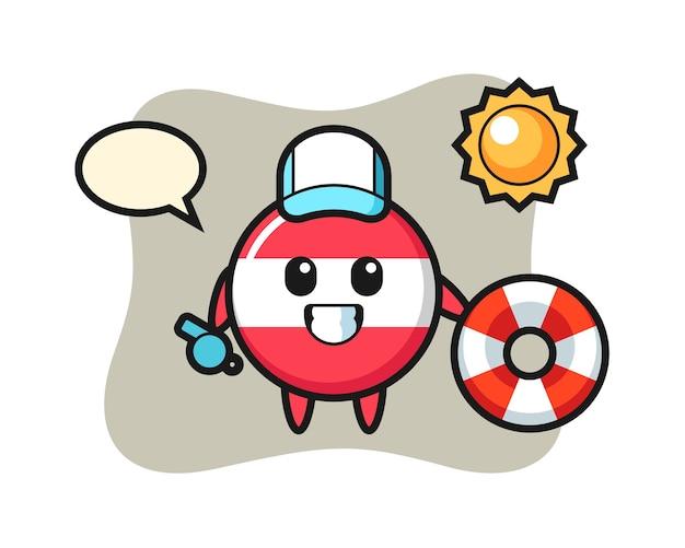Cartoon mascotte del distintivo bandiera austria come una guardia spiaggia