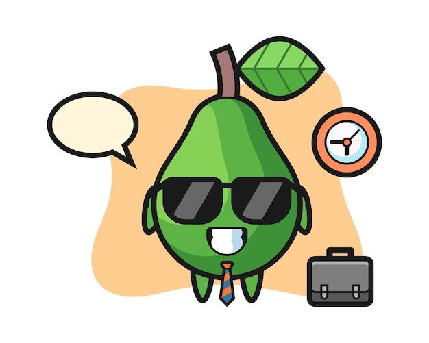 Mascotte del fumetto di avocado come uomo d'affari