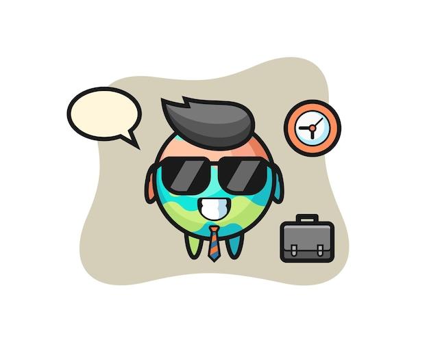 Mascotte del fumetto della bomba da bagno come uomo d'affari, design in stile carino per maglietta, adesivo, elemento logo
