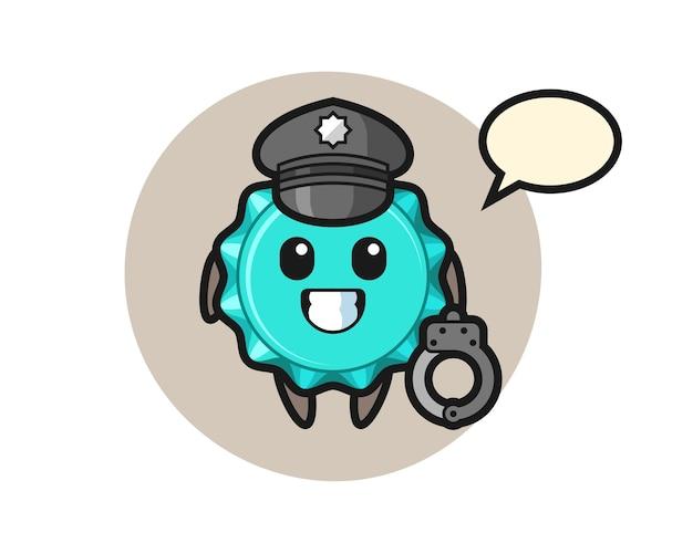 Mascotte del fumetto del tappo di bottiglia come polizia