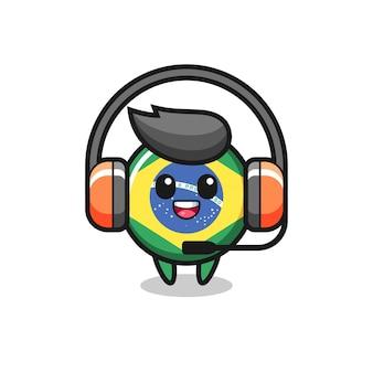 Mascotte dei cartoni animati del distintivo della bandiera brasiliana come servizio clienti, design in stile carino per maglietta, adesivo, elemento logo