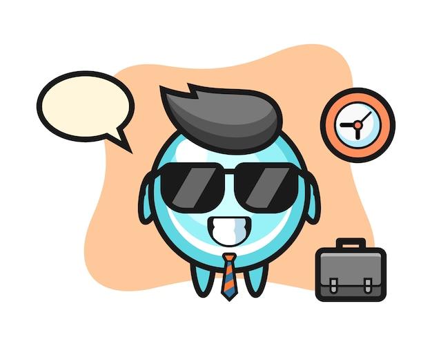 Mascotte del fumetto della bolla come uomo d'affari, design in stile carino