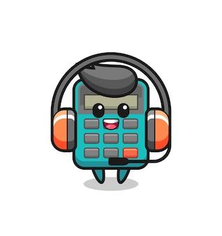 Mascotte dei cartoni animati della calcolatrice come servizio clienti, design in stile carino per maglietta, adesivo, elemento logo