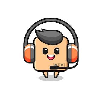Mascotte di cartone animato di scatola di cartone come servizio clienti, design in stile carino per maglietta, adesivo, elemento logo
