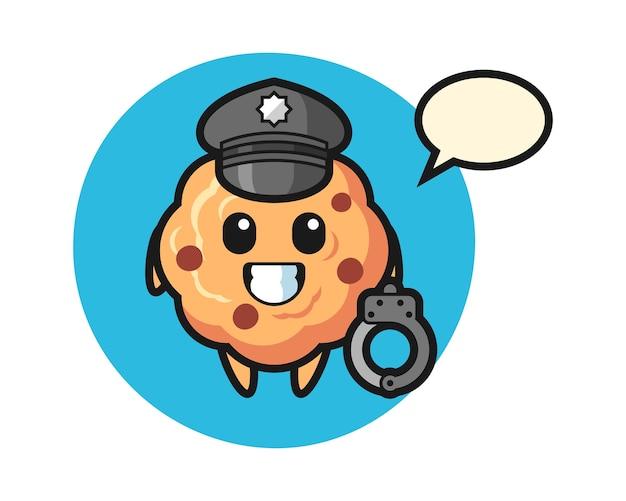Mascotte del fumetto del biscotto con gocce di cioccolato come polizia
