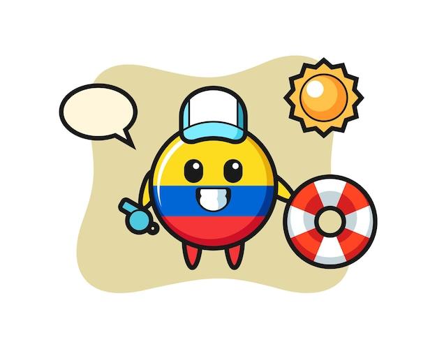 Mascotte dei cartoni animati del distintivo della bandiera della colombia come guardia di spiaggia, design in stile carino per maglietta, adesivo, elemento logo