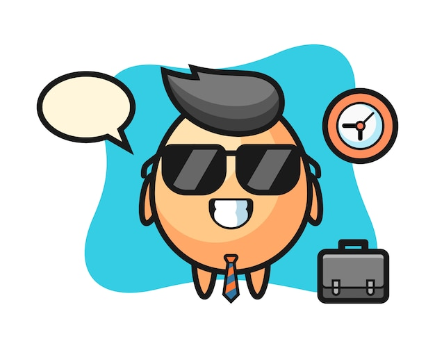 Mascotte del fumetto dell'uovo come uomo d'affari, design in stile carino per maglietta, adesivo, elemento logo Vettore Premium