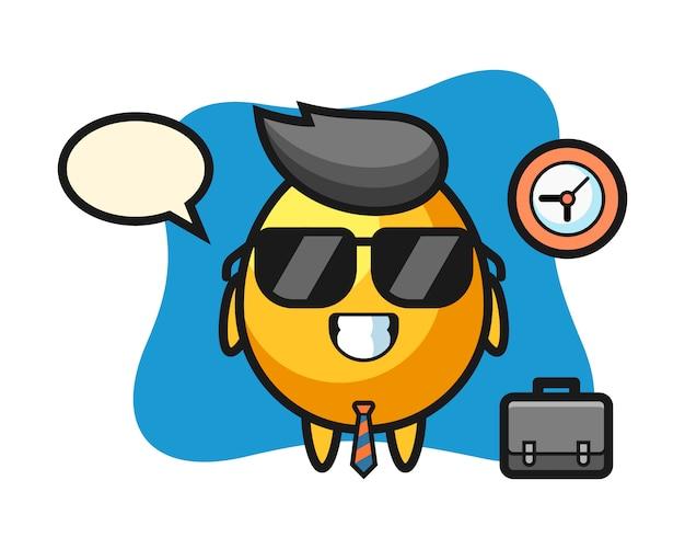 Mascotte del fumetto dell'uovo d'oro come uomo d'affari, design in stile carino