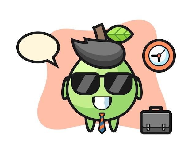 Mascotte del fumetto di guava come uomo d'affari, stile carino per t-shirt, adesivo, elemento logo