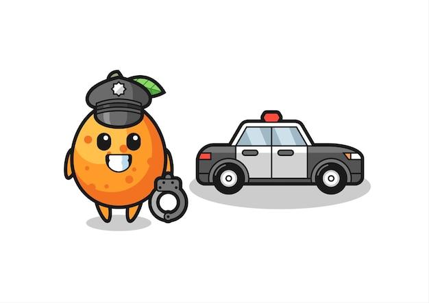 Mascotte dei cartoni animati di kumquat come polizia, design in stile carino per maglietta, adesivo, elemento logo