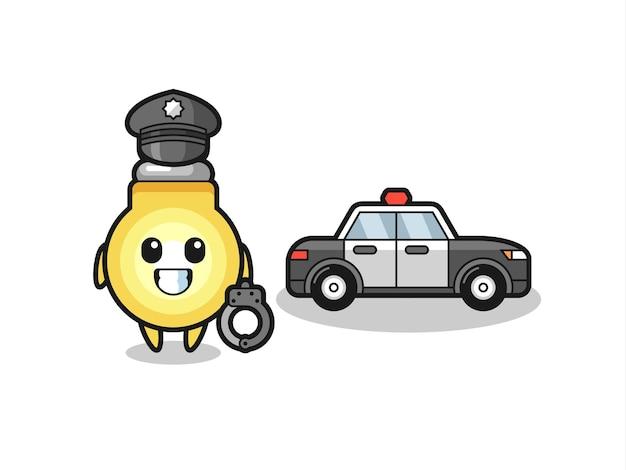 Mascotte del fumetto della lampadina come una polizia, design in stile carino per maglietta, adesivo, elemento logo