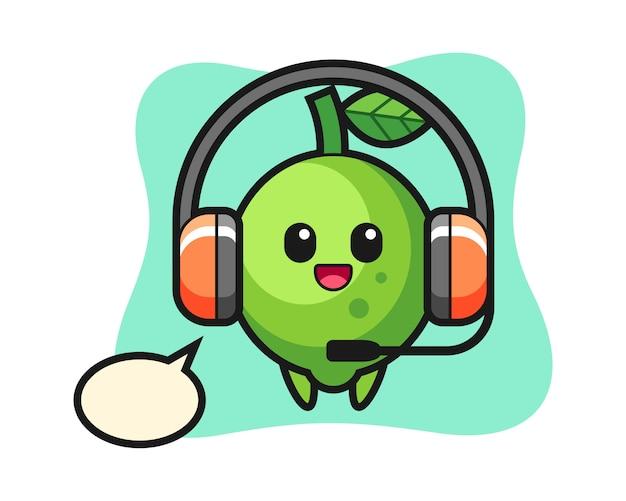 Mascotte dei cartoni animati di lime mascotte dei cartoni animati di lime come servizio clienti, stile carino, adesivo, elemento del logo