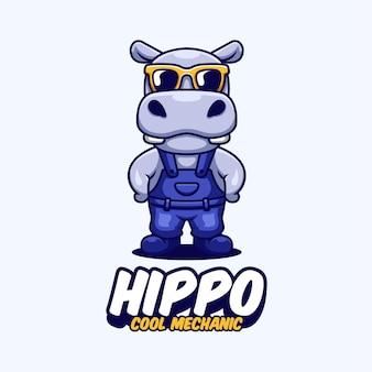 Logo mascotte dei cartoni animati con meccanico ippopotamo
