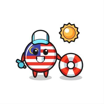 Mascotte dei cartoni animati del distintivo della bandiera della malesia come guardia di spiaggia, design in stile carino per maglietta, adesivo, elemento logo