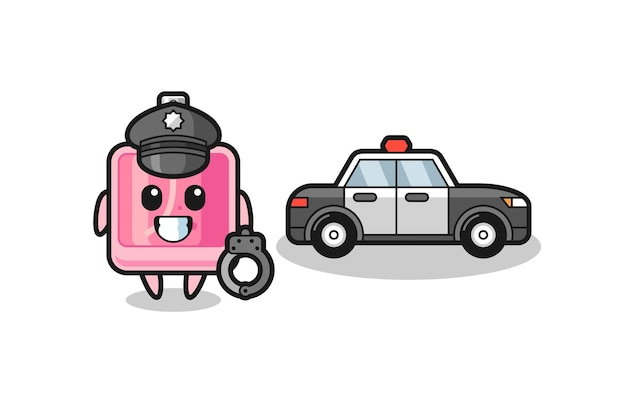 Mascotte dei cartoni animati del profumo come una polizia, design in stile carino per maglietta, adesivo, elemento logo