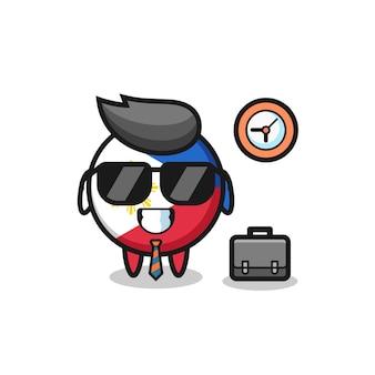 Mascotte dei cartoni animati del distintivo della bandiera delle filippine come un uomo d'affari, design in stile carino per maglietta, adesivo, elemento logo