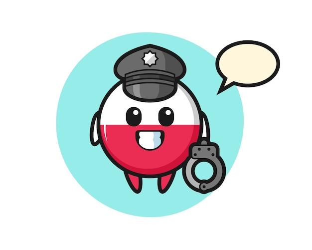 Mascotte del fumetto del distintivo della bandiera della polonia come polizia