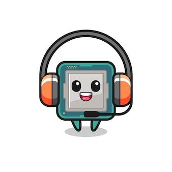 Mascotte dei cartoni animati del processore come servizio clienti, design in stile carino per maglietta, adesivo, elemento logo