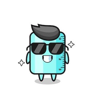 Mascotte dei cartoni animati del righello con gesto cool, design in stile carino per t-shirt, adesivo, elemento logo