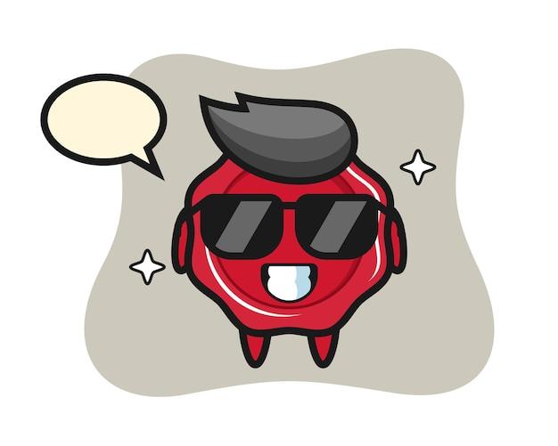 Mascotte del fumetto di ceralacca con gesto cool