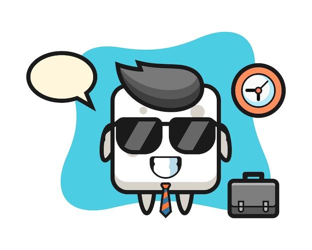 Mascotte del fumetto del cubo di zucchero come uomo d'affari, stile carino per t-shirt, adesivo, elemento logo