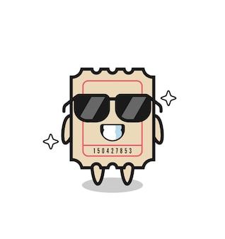 Mascotte dei cartoni animati del biglietto con gesto cool, design in stile carino per maglietta, adesivo, elemento logo