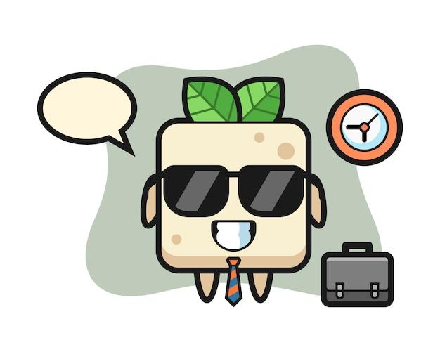 Mascotte del fumetto del tofu come uomo d'affari, design in stile carino per t-shirt
