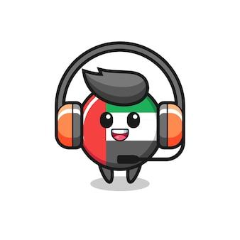 Mascotte dei cartoni animati del distintivo della bandiera degli emirati arabi uniti come servizio clienti, design in stile carino per maglietta, adesivo, elemento logo
