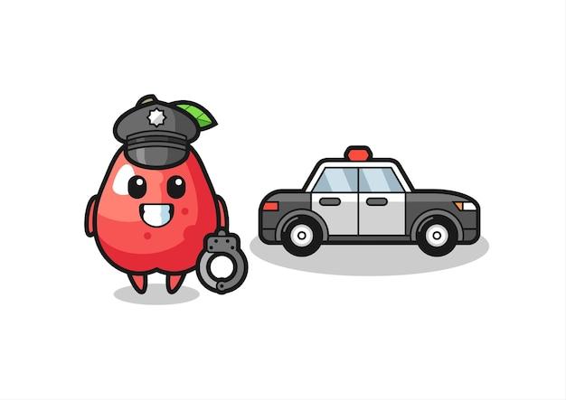 Mascotte del fumetto della mela d'acqua come una polizia, design in stile carino per maglietta, adesivo, elemento logo