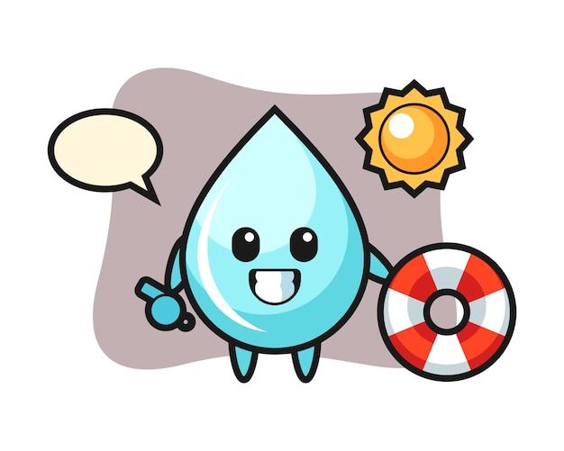 Mascotte del fumetto di goccia d'acqua come una guardia da spiaggia, design in stile carino per t-shirt