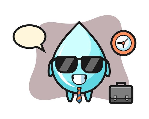 Mascotte del fumetto di goccia d'acqua come uomo d'affari, design in stile carino per t-shirt