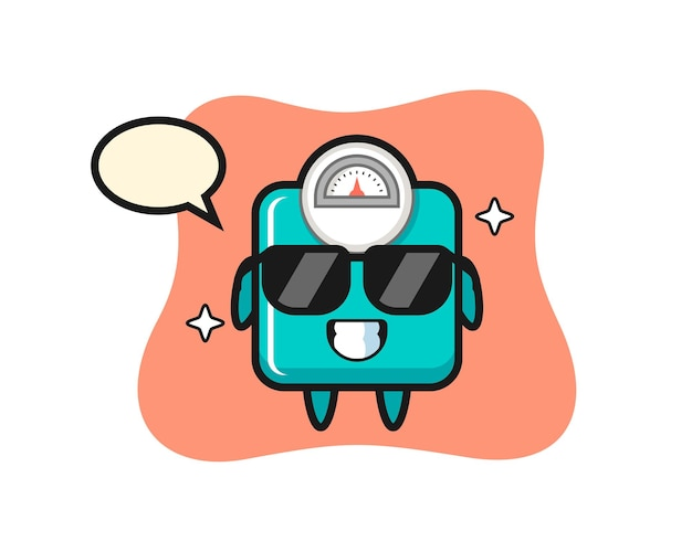 Mascotte del fumetto della bilancia con gesto fresco, design in stile carino per maglietta, adesivo, elemento logo