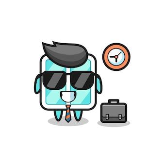 Mascotte del fumetto della finestra come uomo d'affari, design in stile carino per maglietta, adesivo, elemento logo