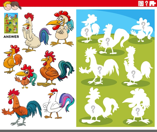 Cartone animato di animali da abbinare e la giusta forma o silhouette con polli gioco educativo di personaggi di animali da fattoria per bambini