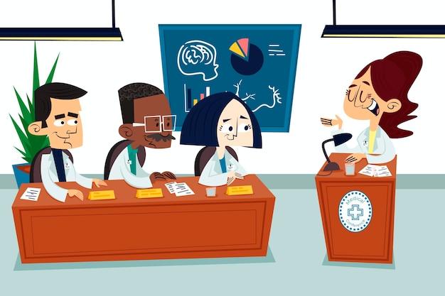 Cartoon conferenza medica illustrazione Vettore Premium
