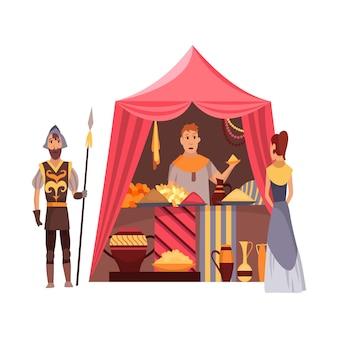 Fiera medievale dei cartoni animati. medioevo o mercato delle fiabe con personaggi in costume