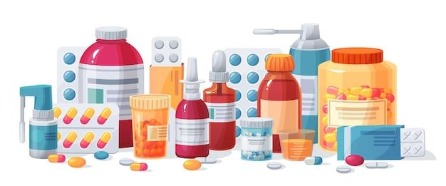 Set di farmaci del fumetto Vettore Premium