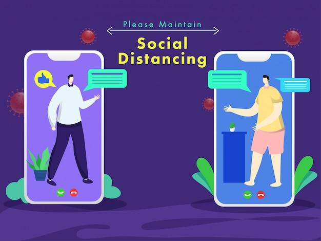 Uomini del fumetto che fanno videochiamate con la chat da smartphone per mantenere la distanza sociale