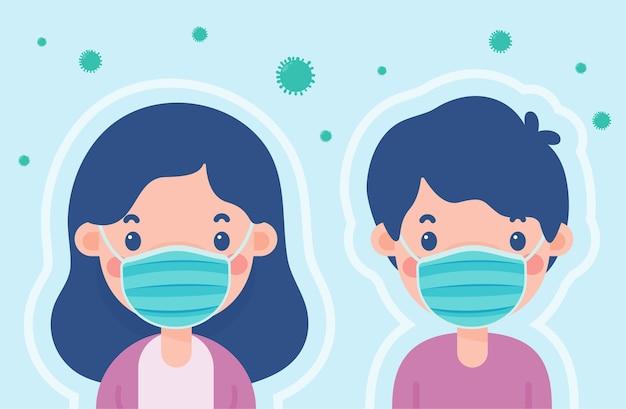 Uomini e donne dei cartoni animati che indossano maschere per prevenire il concetto di scudo della malattia da coronavirus