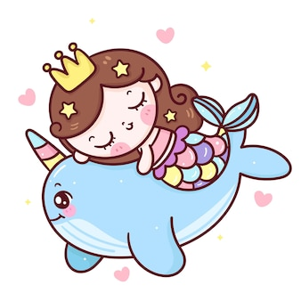 Cartoon mermaid abbraccio narwhal kawaii animal