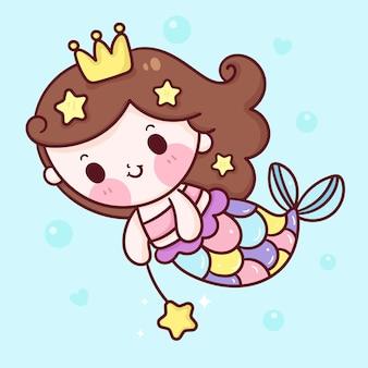 Principessa sirena del fumetto con stile kawaii stelle marine