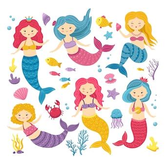 Sirene dei cartoni animati. simpatica clipart principessa, sirena e animale dell'oceano. adesivi kawaii nel paese delle fate per album di ritagli Vettore Premium