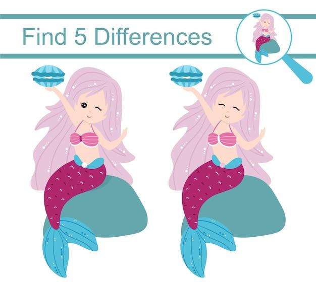 Sirene dei cartoni animati. trova 5 differenze. gioco educativo per bambini.