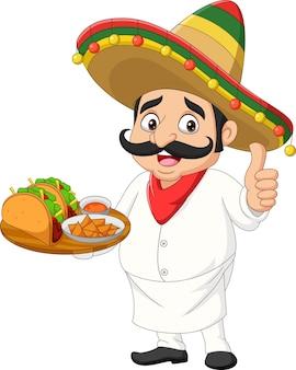 Chef messicano cartone animato con cibi che dà pollice in su